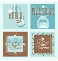 Baby boy Shower Greetring Cards Design vector image vector image