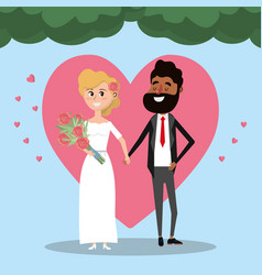 couple married with heart and bouquet flowers vector image vector image