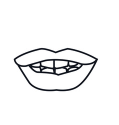 outline mouth lips woman expression vector image