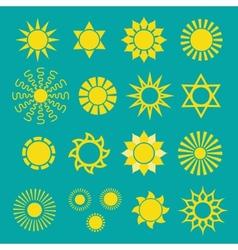 Set of yellow sun icons vector image