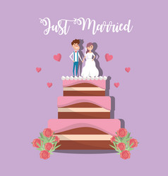 couple married to cake decoration design vector image