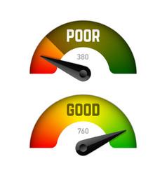 credit score gauge poor and good rating vector image