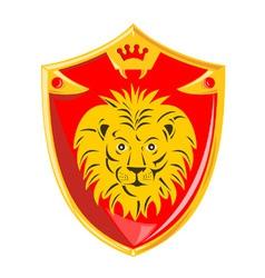 Lion Crown Shield Retro vector image