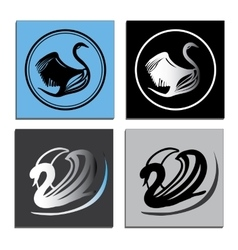 Set white and black swans logo vector