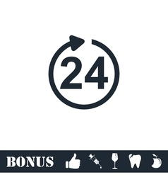 24 hours available icon flat vector image