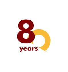 80 year anniversary elegant number template design vector
