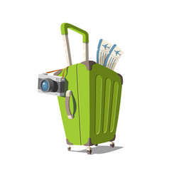 a suitcase with camera vector image