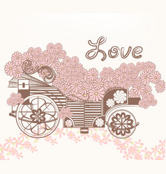 art fake carriage and flowers in vintage style vector image