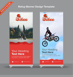 artistic rollup banner in red waves vector image
