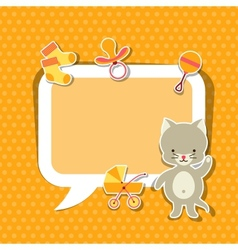 Background photo frame with little cute bacat vector
