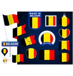 Belgium flag collection big set of national flag vector