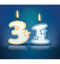 Birthday candle number 31 vector