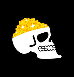 bitcoin is treasure skull and cryptocurrency vector image