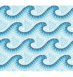 Blue dotted mosaic Australian style waves seamless vector image