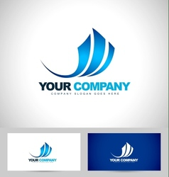Blue Swash Logo Design vector image