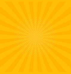 bright yellow rays background comics pop art style vector image