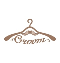 Brown wedding hangers for groom vector