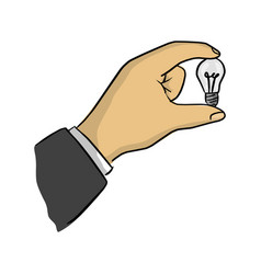 businessman holding small bulb vector image