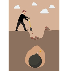 Businessman in danger vector image