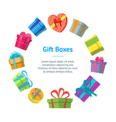 cartoon color gift boxes banner card circle vector image