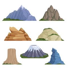 cartoon mountains snow rockies summer terrain vector image