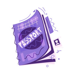 cartoon passport air travel concept flat vector image