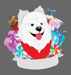 cartoon portrait a dog with a christmas present vector image