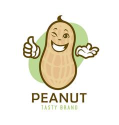 Cartoon winking peanut character vector