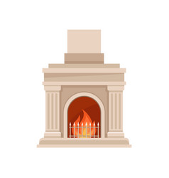 Classic burning marble fireplace vector