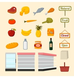 Collection supermarket food items vector