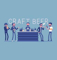 craft beer store bar and male visitors vector image