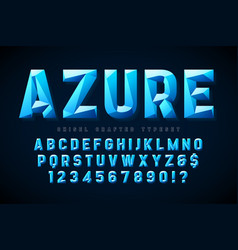 Crystal display font with facets alphabet vector