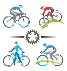 Cycling icons vector image vector image