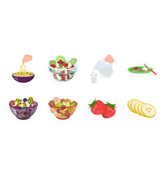 Dessert fragrant icons in set collection vector