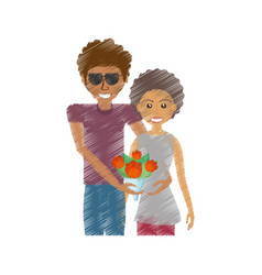 Drawing romantic couple funny with flowers vector