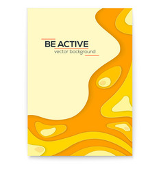 dynamic papercut 3d poster yellow liquid wavy vector image