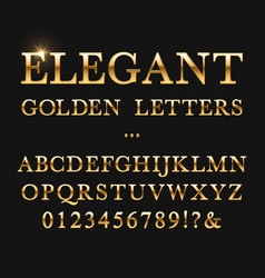 Elegant golden letters shiny gold alphabet vector
