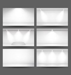 empty white photo studio interior background set vector image