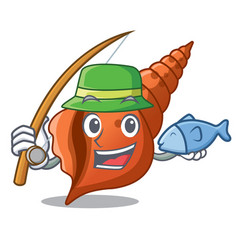 fishing long shell mascot cartoon vector image