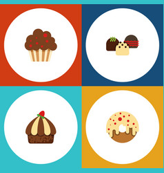 Flat cake set of muffin cupcake cake and other vector