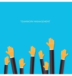 Flat hands Working on a project Teamwork vector image