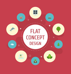 flat icons playful fish landscape wood vector image