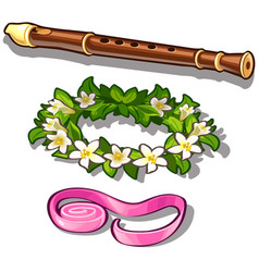 Flute flower wreath and pink tape vector