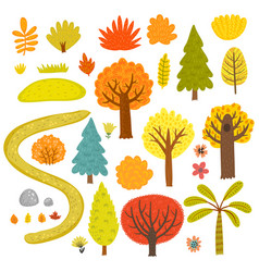 forest set trees vector image