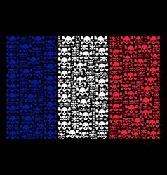 France flag mosaic of skull crossbones items vector