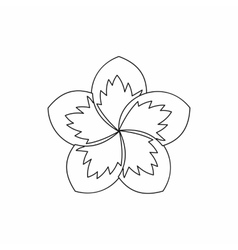 Frangipani flower icon outline style vector