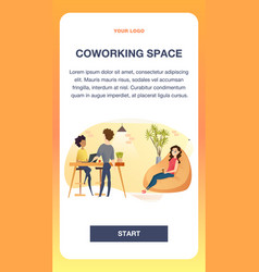 Freelancer working in comfortable shared workplace vector