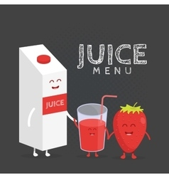 Funny cute strawberry juice packaging and glass vector