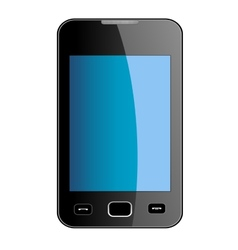 Glossy smart phone with blue touch screen vector