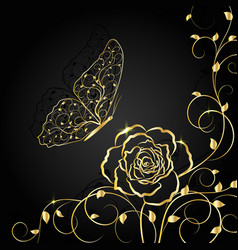 Gold floral pattern and butterfly on black vector